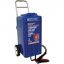 #6002B Multi-Voltage HD Wheeled Fleet Battery Charger, 400 Amp Crank Assist, 8' Charging Leads