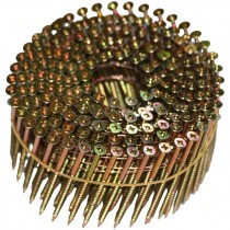 "2"" x .113"" Zinc-Yellow, Combo-Drive, Flat-Head, 15° Wire-Coil NailScrews®"