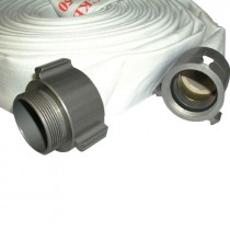 """2-1/2"""" x 50' Double Jacketed Discharge Hose w/ Aluminum NH (NST) Couplings, White"""