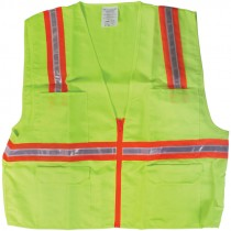 Non-Rated Premium Lime Green Safety Vests - XX-Large