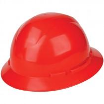 Full Brim Hard Hat, 6-Pt Wheel Ratchet Suspension, Red