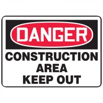 "7"" x 10"" Danger Construction Area Keep Out Sign"