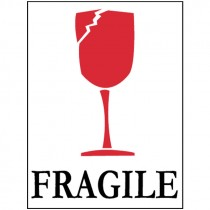 """3"""" x 4"""" Fragile (Graphic) Glass International Shipping Label"""