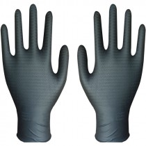6 Mil Black Disposable Nitrile Glove, Powder Free, Embossed Grip, Large *Discontinued/Clearance*