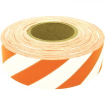 "1-3/16"" x 100 Yd Flagging Tape - White/Orange Stripe"