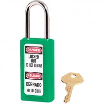 """Bilingual Safety Lockout Padlock 1-1/2"""" Shackle, Green, Keyed Differently"""