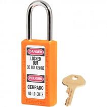 """Bilingual Safety Lockout Padlock 1-1/2"""" Shackle, Orange, Keyed Differently"""