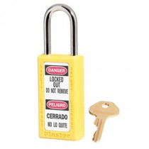 """Bilingual Safety Lockout Padlock 1-1/2"""" Shackle, Yellow, Keyed Differently"""