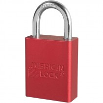 """Aluminum Safety Lockout Padlock, 1"""" Shackle, Red, Keyed Different"""