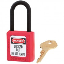 """Dielectric Safety Lockout Padlock, 1-1/2"""" Shackle, Red, Keyed Differently"""
