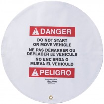"""20"""" Diameter Steering Wheel Cover, Bilingual, Danger Do Not Operate or Move Vehicle"""