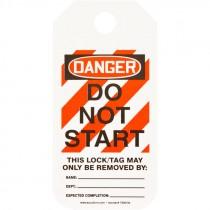 """2"""" x 4""""  Equipment Lockout Tag - Danger Do Not Start - 25 Pack"""