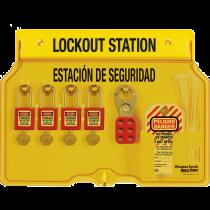 4-Lock Padlock Station, English/Spanish, with Zenex™ Thermoplastic Padlocks