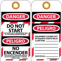 """6"""" x 3"""" Bilingual English/Spanish Do Not Start Lockout Tags, Unrippable Vinyl"""