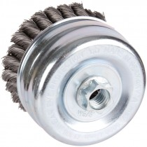 """4"""" x 5/8""""-11 Knot Wire Cup Brush .020 Wire -  Carbon Steel"""