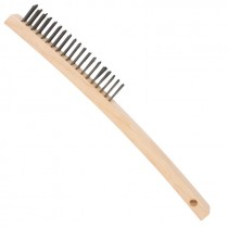 """Curved Handle Wire 14"""" Scratch Brush - Steel Wire - 3 x 19"""