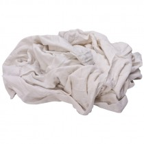 Reclaimed White Knit T-Shirt Rags - 25 LB. Case