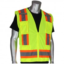 Class 2 Premium Lime Green Surveyors Safety Vests - X-Large