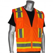 Class 2 Two-Tone Stripe Surveyors Safety Vest, Solid Front, Mesh Back, Zipper Closure, Hi-Vis Orange, Large