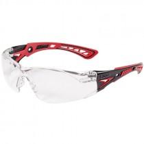 Bolle Rush Foam Safety Glasses, Clear Lens, Red/Black Frame