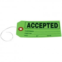 """#5 (4-3/4"""" x 2-3/8"""") Pre-Wired ACCEPTED Card Stock Tag - Green"""
