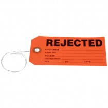 """#5 (4-3/4"""" x 2-3/8"""") Per-Wired REJECTED Card Stock Tag - Red"""