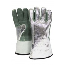 """13"""" Leather Palm Gloves w/ Aluminized OPF Back - One Size Fits Most"""