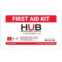HUB 10 Person ANSI Class A First Aid Kit, Plastic Case