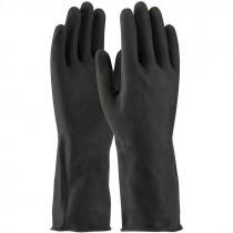"""13"""" 28 Mil. Black Latex Glove, Embossed Grip, Flock Lined, 2-XL"""