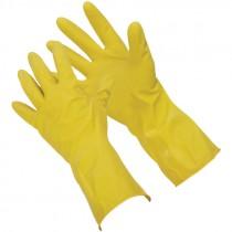 "12"" 15 Mil. Yellow Latex Glove, Embossed Grip, Flock Lined, Medium"