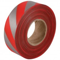 """1-3/16"""" x 100yds Red/Silver Stripped Flagging Tape"""