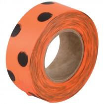 "1-3/16"" x 50 Yd. Flagging Ribbon - Orange/Black Polka Dot"