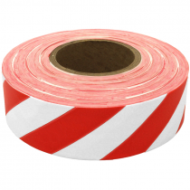 "1-3/16"" x 100 Yd Flagging Tape - White/Red Stripe"