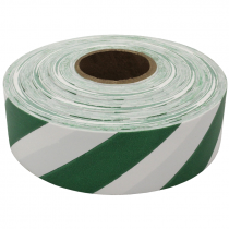 "1-3/16"" x 100 Yd Flagging Tape, White/Green Stripe"