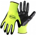 Economy Hi-Vis Yellow Polyester Glove, Smooth Nitrile Coated Palm